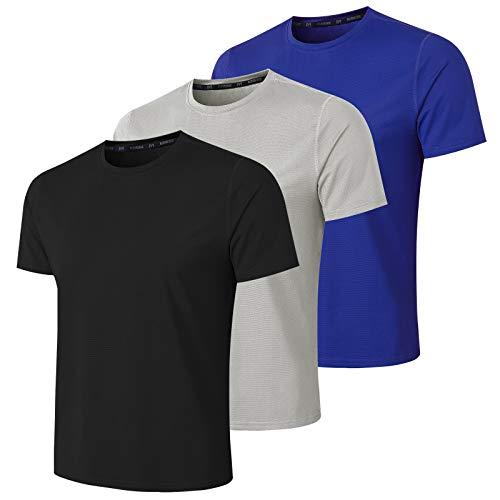 MeetHoo Sportshirt Herren, Kurzarm T-Shirts Laufshirt Mesh Funktionsshirt Atmungsaktiv Kurzarmshirt Schnelltrocknendes Sport Shirt Trainingsshirt für Männer Running Jogging Gym