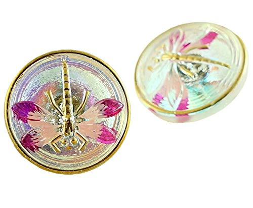 1pc Crystal AB Valentine Pink Gold Dragonfly Insect Handmade Czech Glass Button Size 8, 18mm