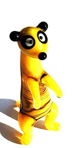 Stokstaartje mini geel oranje bruin zwart - miniatuurfiguur van glas klein scharnier surikate mangusten meerkat - glazen figuur glazen deco zetkast vitrine