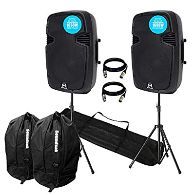 """VONYX Ekho RS15A V3 3200W IPP Active DJ PA Club 15"""" Speaker Stereo Package With Stands"""