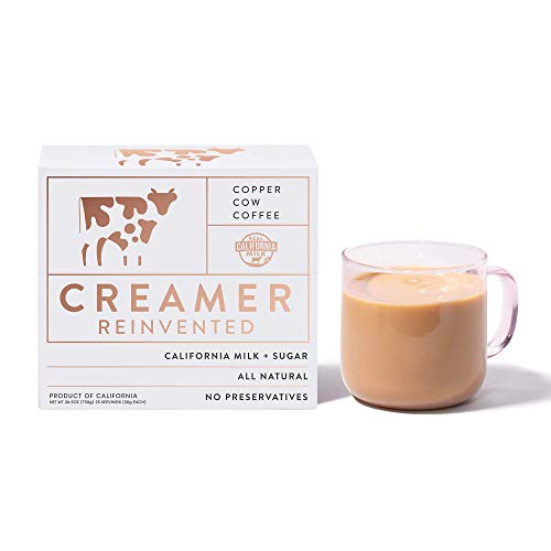 Copper Cow Coffee California Sweetened Condensed Milk Creamers – Single-Serve and All-Natural Pre-Filled Packets – (25 Pack)