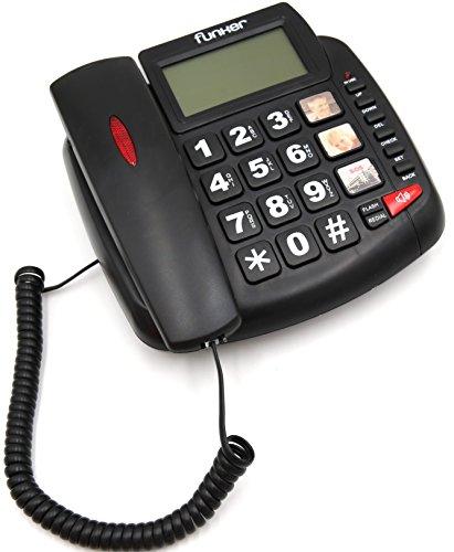 FUNKER D20 Negro TELÉFONO Fijo SOBREMESA/Pared Especial para Personas Mayores, Teclas Y Pantalla Grandes, MEMORIAS DIRECTAS con Foto, Volumen Extra Fuerte, Funcion Manos Libres