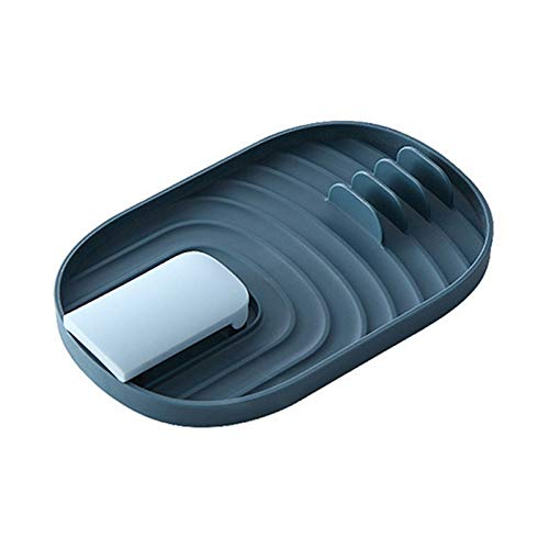 Riposo multifunzionale per utensili da cucina, poggiapolsi e coperchio per pentola, cucchiaio pieghevole e coperchio con gocciolatore, porta utensili da cucina, per spatola, pinze, cucchiai, blu