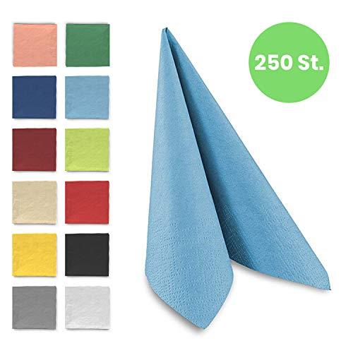 Tafel-Servietten, 3-lagig, 33 x 33 cm, Inhalt 250 St, in unterschiedliche Farben, jeweils abgestimmt auf Einrichtung & Dekoration, für Gastronomie & Zuhause, hochwertiges Material, hellblau