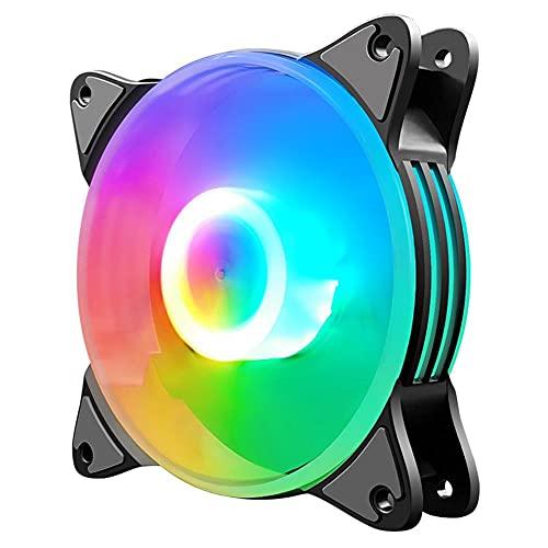 Radiators Ventilador ultra silencioso de alto flujo de aire para ordenador, Coolmoon, ventilador de refrigeración de chasis de 12 cm, 5 colores, iluminación LED, disipador de calor grande de 4 pines