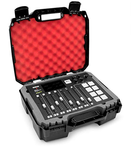 Casematix Studio Mixer Hard Case Fits Rode RODECaster Pro Podcast Production Studio Podcasting Microphone and Accessories, Red Padded Foam Protection
