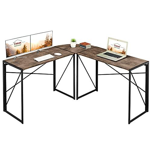 Escritorio plegable sin montaje, en forma de L, para computadora en casa, oficina, estación de trabajo, mesa esquinera de estudio de escritura, 47 x 15 x 29.5 pulgadas, color marrón VC1905
