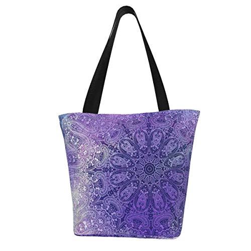 Bolsa de lona personalizable, toalla de té con mandala, color azul vibrante, lavable, bolsa de hombro, bolsa de compras para mujer