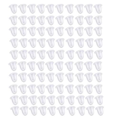 Earing Backs Rubber Medium Transparent,100pcs Earing Butterfly Backs, Allergy Free Transparent Plastic Earring Backs Stoppers for Women's DIY Jewelry Supplies Earring Backs