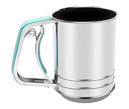 Stainless Steel Flour Sifter Hand Squeeze with Double Sifter Sieves (3-Cup, Green)