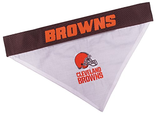 Pets First NFL DOG BANDANA - CLEVELAND BROWNS REVERSIBLE PET BANDANA. 2 Sided Sports Bandana with a PREMIUM Embroidery TEAM LOGO, Small/Medium. - 2 Sizes & 32 NFL Teams available