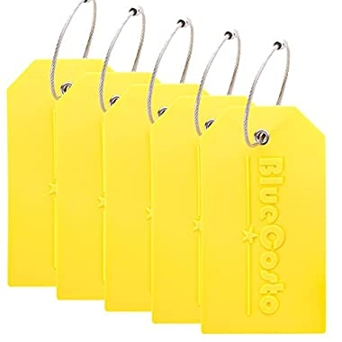 BlueCosto 5x Luggage Tags Travel Bag Suitcase Labels w/Privacy Cover - Yellow