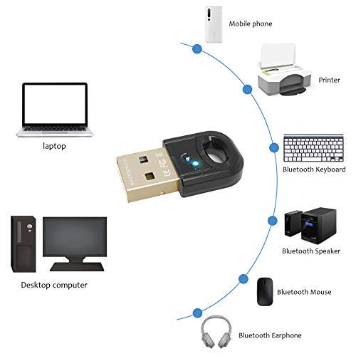 Bluetooth 5.0 USB Adapter Nano, BT V5.0 Dongle Stick, Bluetooth Empfänger und Sender für PC, Laptop, Desktop, Drucker, Headset - unterstützt Windows 10/8.1/8/7 und Linux