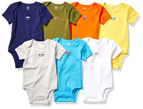 Amazon Essentials 7-Pack Short-Sleeve Bodysuits Infant-and-Toddler-Suits, Days of The Week-Vehicles, M