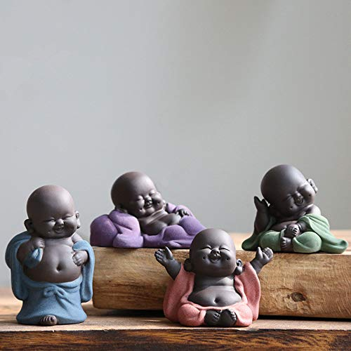 Kingzhuo A Collection of Cutie 4 Smiling Buddha Laughing Buddha Statue Adorable Figurine 4 Lovely Little Buddha Cutest Baby Buddha Great Details Giftable Make You Happy (4 Buddhas)