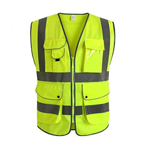 Goldbeing Warnweste Sicherheitweste mit Taschen, Unfallweste Pannenweste mit Reflektorstreifen und Reißverschluss, Ideal für Handwerker, Bauarbeiter Wanderer, Hundehalter, Beeren- und Pilzsammler