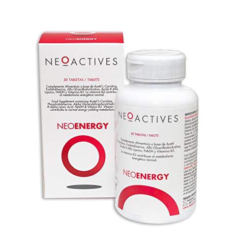 Neoactive NeoEnergy, Suplemento con Acetil L-Carnitina, Fosfatidilserina, Alfa Glicerilfosforilcolina, Ácido R-Alfa Lipoico, NADH y Vitamina B3, Ayuda a disminuir el cansancio y fatiga (30)