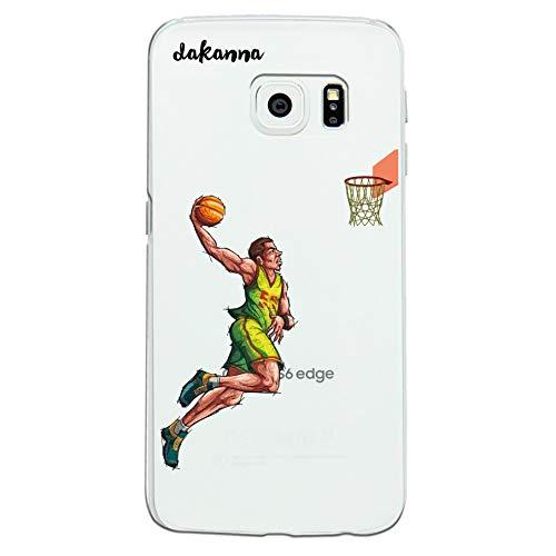 dakanna Funda para Samsung Galaxy S6 Edge   Jugador de Baloncesto   Carcasa de Gel Silicona Flexible   Fondo Transparente