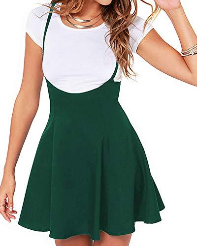 YOINS Women's Suspender Skirts Basic High Waist Versatile Flared Skater Skirt New-Green S