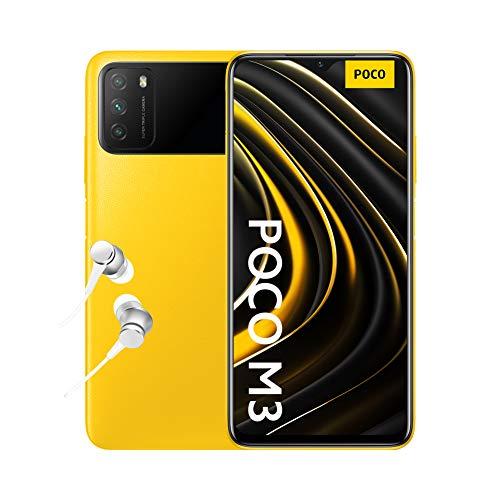 "Xiaomi Poco M3 - Smartphone 4+64GB, Pantalla 6,53"" FHD+ con Dot Drop, Snapdragon 662, Cámara triple de 48 MP con IA, batería de 6000 mAh, POCO Yellow"