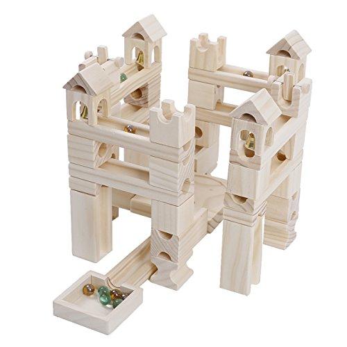 Mag-Building 積み木 おもちゃ ビ-玉 転がし ピタゴラスイッチ 玉転がし 知育玩具 木製 立体パズル 誕生日 入学 入園 クリスマス プレゼント 80PCS