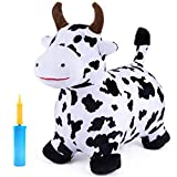iPlay, iLearn Bouncy Pals Cow Hopping Horse, Outdoor Ride On Bouncy Animal Play Toys, Inflatable Hopper Plush Covered with Pump, Activities Gift for 18 Months 2 3 4 5 Year Old Kids Toddlers Boys Girls