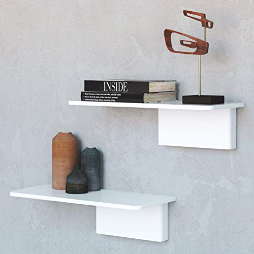Fytz Design - Estantes flotantes de pared, juego de 2 estantes flotantes blancos para pared en sala de estar, dormitorio, baño, cocina, comedor y oficina