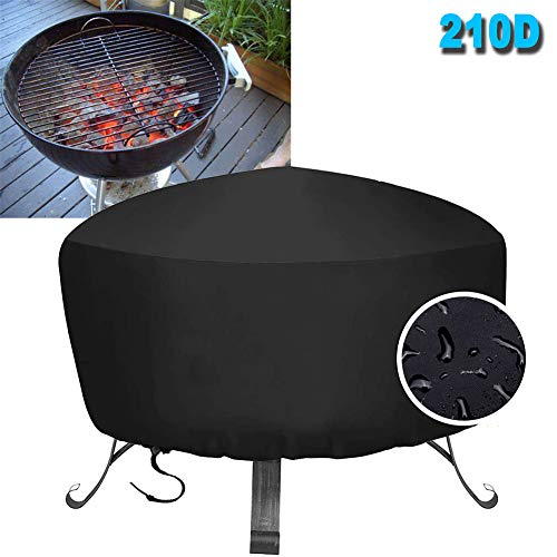 HHMH Barbecue Cover BBQ Cover Waterproof and 210D Oxford Burner Grill Covers Round Large Outdoor Garden Grill Protection Windproof, UV & Water-Resistant, with Drawstring Cord, Black,48x18 in