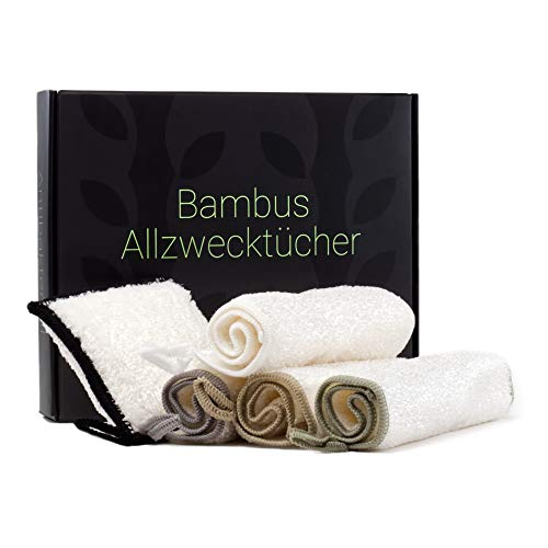 Green Child® - Bambus Allzweck Putztücher und Putzschwamm (Set 5 Stück) - Ohne Mikrofaser, biologisch abbaubar - Putzlappen für Küche, Bad, Auto, Fenster etc