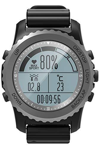 Montre intelligente GPS Boussole Fitness Tracker Activité IP68 Podomètre Sport Norkeling Moniteur de fréquence cardiaque Chaussures Multisport Outdoor noir