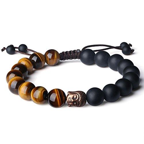 COAI Buddhist Reiki Healing Matte Onyx Tiger Eye Prayer Stones Bracelet