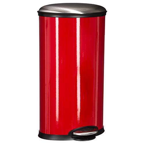 Poubelle ovale - 30L - Acier inoxydable - Rouge