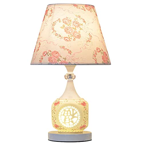 Sala de estar Lámpara de mesa de dormitorio Lámpara de mesa china tradicional asiática Lámpara de mesa de dormitorio Lámpara de letras Poste Lámpara de escritorio de noche Lámpara de estampado de flor