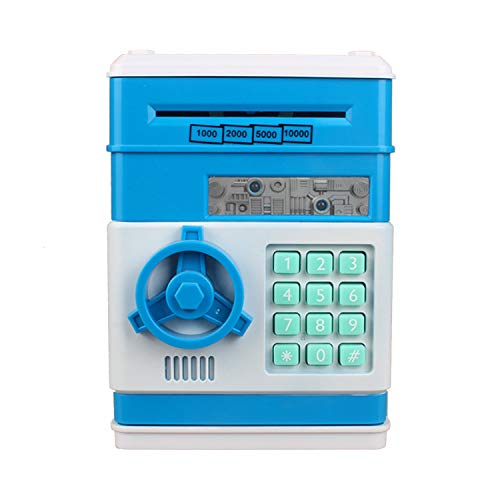 Mini ATM Savings Piggy Bank Machine for Real Money for Kids with Card,Motorized Bill Feeder,Coin Reader and Balance Calculator,Electronic Digital Safe Box