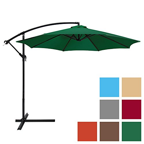 Best Choice Products 10ft Offset Hanging Outdoor Market Patio Umbrella w/Easy Tilt Adjustment - Green