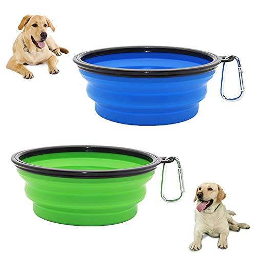 Hundenapf Faltbar Reisenapf Hund Faltnapf Hund, 2 Stück Faltbarer Trinknapf Hund Faltbarer Hundenapf Wassernapf für Hunde Unterwegs, Auslaufsicher und Stabil, Klappbar Fressnapf (Blau+Grün)