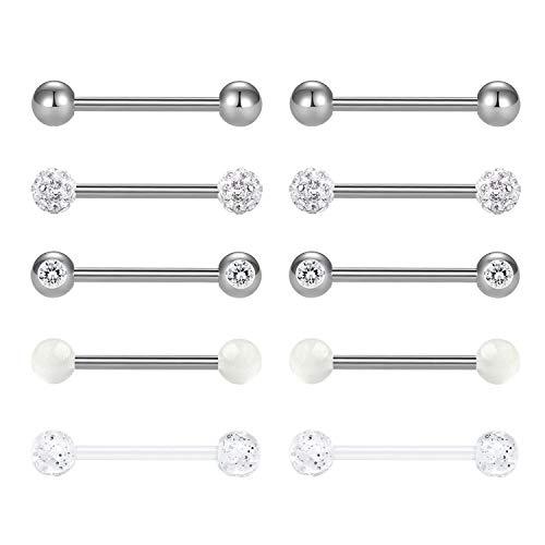 Senxido 14G Tongue Rings Nipplerings 316L Stainless Steel Barbell Bio-Flex Comfortable Barbell Ring Body Piercing Jewelry