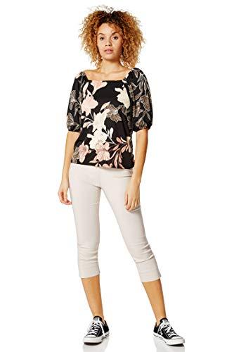 Roman Originals Camiseta de cuello cuadrado con estampado floral para mujer - negro - 46 ES