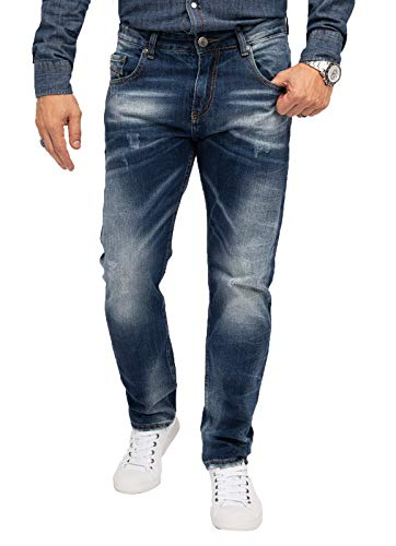 Indumentum Jeans Herren Regular Fit Hose Männer Jeans Hosen Herrenjeans Denim Herrenhose Mens Pant Herrenhose Used-Look Dunkelblau IR-503 W33 L32
