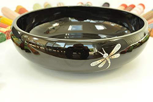 Bol de service rond en bois massif fait à la main - Bol décoratif en bois massif laqué et incrusté de coquille d'œuf - Vaisselle de qualité supérieure - Noir brillant - Petite taille - H002S