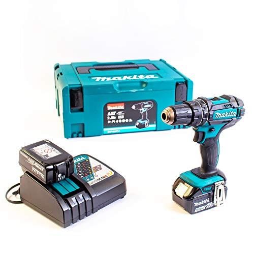 Makita, DHP482RTJ, trapano avvitatore a percussione + 2batterie 18V, 5Ah Li-Ion + contenitore Makpac, colore: blu