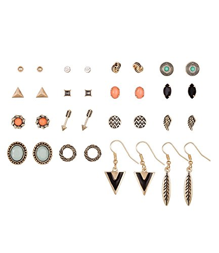 SIX Ohrringe im Set: 16 modische Ohrstecker, diverse Motive Pfeil/Feder/Flügel/Knoten-Design, ideal zum Verschenken, schwarz goldfarben (429-667)