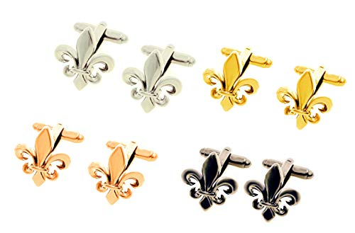 Unbekannt Lilien Manschettenknöpfe Mix silbern, gunmetall, rosévergoldet + golden glänzend rhodiniert 4 Paare + Geschenkboxen