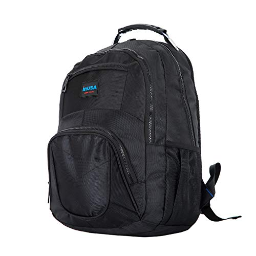 InUSA Executive Backpack for Laptops up to 15.6 Inches, CRANDON Collection Travel Backpack with Water Resistance and Ballistic Nylon Material, Black