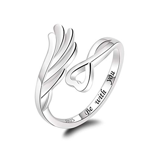 925 Sterling Silver Feather Angel Wing Ring Love Guardian Jewelry Gift for Women Girls - Be with you