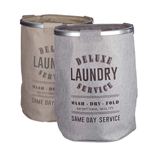 Relaxdays Pack De 2 Cestos Ropa Sucia Plegables En Estilo Vintage, Tela, Gris/Beige, 80 litros