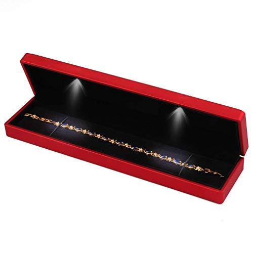 Yodio LED-Licht-Halskette mit langer Kette, Armband, Vitrine für Schmuck, Geschenk-Boxen, Rotwein-Anhänger, für Hochzeit, Jahrestag, Weihnachten, Verlobung