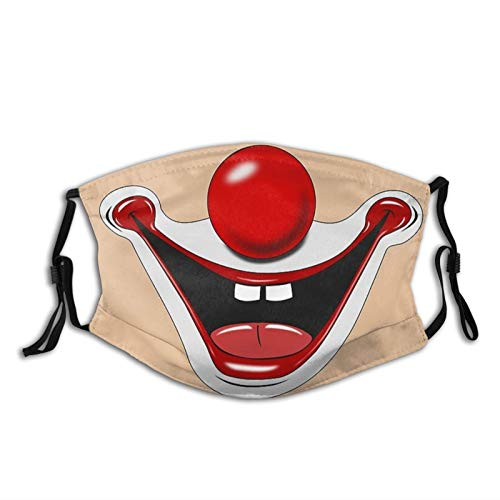 MOMEPE Funny Clown April Fools Day- Face Mask Scarf, Breathable Washable Fashion Balaclavas with 2 Filters, for Men & Women Adult