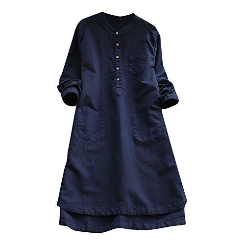 VEMOW Heißer Elegante Damen Frauen Retro Langarm Casual Lose Täglichen Party Tunika Taste Tops Bluse Mini Shirt Kleid(Y1-Blau, 46 DE / 2XL CN)