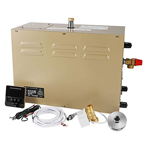 CGOLDENWALL 9KW Commercial Self-Draining Steam Generator Shower System Sauna Bath Home SPA 30 min to 12 Hours with Waterproof controller For suitable space heating 9 m³/ 318 cubic feet (220V)